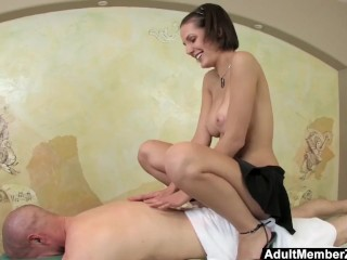 Preview 5 of AMZ - Busty Teen's Massage Gets His Cock Rock Hard