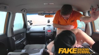 Preview 5 of Fake Driving School pussy creampie and anal sex for busty milf in threesome