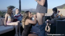 Nerdy guy gets blowjob at pool party