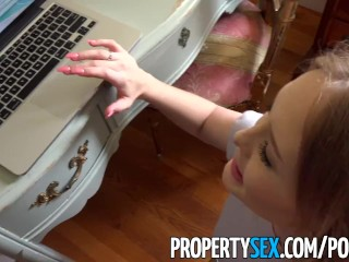Preview 2 of PropertySex - Conservative landlord fucks cam girl tenant