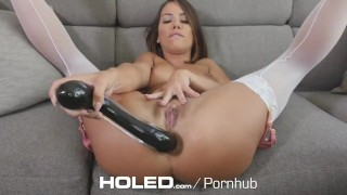 Preview 6 of HOLED Anal warm up toy fuck and facial with brunette Adriana Chechik