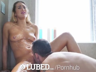Preview 4 of LUBED Big dick shower fuck and facial with blonde Carter Cruise