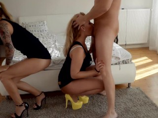 Preview 5 of Two Pornhub Chicks have hard deepthroat orgy sharing their husbands. Part 1
