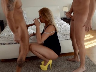 Preview 6 of Two Pornhub Chicks have hard deepthroat orgy sharing their husbands. Part 1