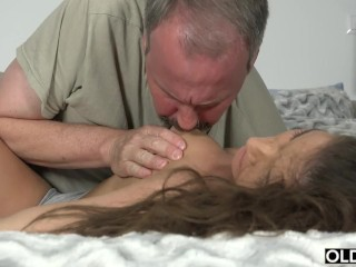 Preview 1 of Old Young Porn Group fucked Teen Takes 2 grandpa cocks and cums hardcore