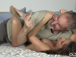 Preview 4 of Old Young Porn Group fucked Teen Takes 2 grandpa cocks and cums hardcore