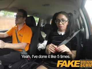 Preview 3 of Fake Driving School - Black haired Euro babe with Glasses Fucked in a Car