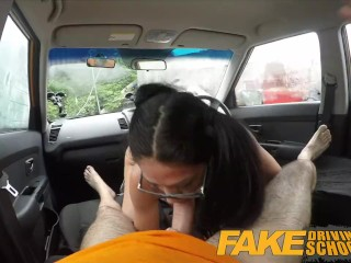 Preview 5 of Fake Driving School - Black haired Euro babe with Glasses Fucked in a Car