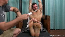 Inked hunk Chase Lachance is restrained and fiercely tickled