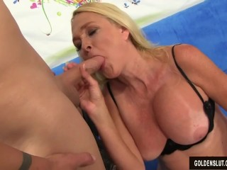 Preview 3 of Sexy Granny Sara Skippers Measures a Guys Dick and Then Fucks Him