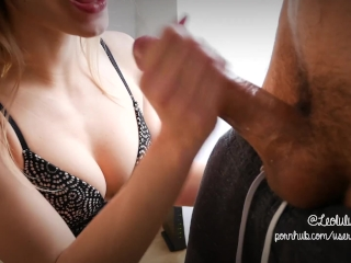 Preview 5 of Amazing close-up Bj with Deepthroat and Cum on Tits - Amateur Leolulu
