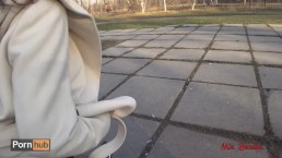Real public sex. Beautiful teen fucks on a park bench and shows her perfect
