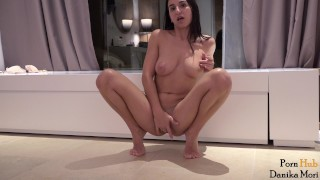 Preview 6 of Pretty brunette driving herself to a big squirt orgasm!