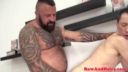 Inked twink barebacked by pierced cock doctor