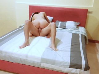 Preview 2 of Young Brunette Fit Girl Loves to gets Her Holes Fucked on Bed Legs Up Cum