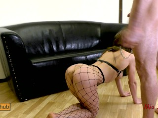 Preview 1 of Submissive anal slut gets ass to mouth fucked on a leash. Mia Bandini