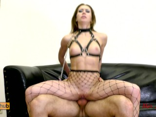 Preview 5 of Submissive anal slut gets ass to mouth fucked on a leash. Mia Bandini