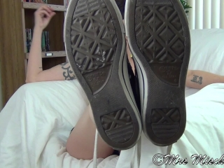 Preview 2 of Footboner - pov foot fetish tease, sneakers, socks, and bare soles