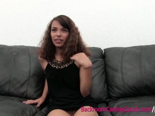 Preview 2 of Latina Teen First Time Anal Creampie on Casting Couch