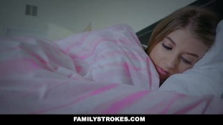 Preview 4 of FamilyStrokes - Scared Stepdaughter Gets Fucked While Wife Sleeps