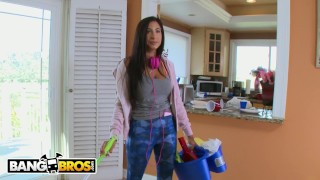 Preview 1 of BANGBROS - Busty Latina Maid Stacy Jay Cleans Chris Stroke's Pipes