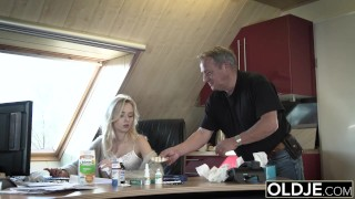 Preview 2 of Young Old porn Martha gives grandpa a blowjob and has sex with his old dick