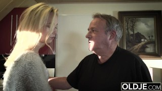 Preview 5 of Young Old porn Martha gives grandpa a blowjob and has sex with his old dick