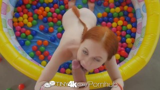 Preview 6 of Tiny4k Small breasted ginger Dolly Little fucked after ball pit fun
