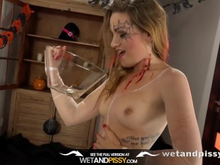 Preview 4 of Piss Drinking - Barbe tastes her own warm piss during solo toy play