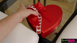 Preview 1 of Bratty Sis - Little Step Sister Falls For Brothers Valentines Day Surprise