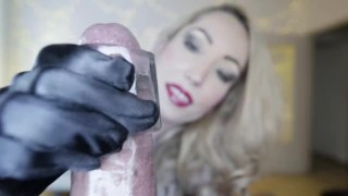Preview 5 of Candy May - SATIN GLOVES BBC HANDJOB