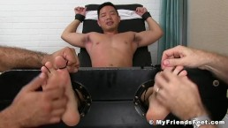 Sexy Asian Cooper Dang gets his suckable feet tickled hard