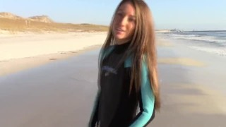 Preview 1 of Filming my lesbian girl squirting on the beach