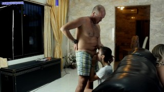 Preview 4 of Neighbours fuck stepdaughter while mom watch TV