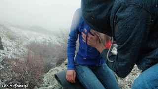 Preview 1 of Lost hikers have rough anal sex to stay warm in snow - 2 orgasms 1 cumshot