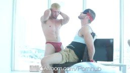 GayRoom Home strip with hunks Mikey Jr and Tryp Bates