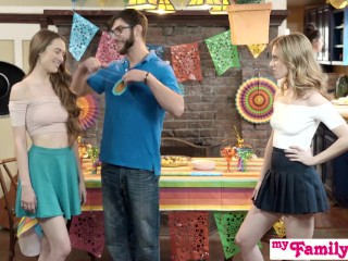 Preview 2 of Step Sis And Teen Friend Sneak Fuck At Cinco De Mayo Party S2:E5
