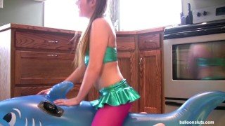 Preview 1 of Horny Pigtailed Slut Grinds Inflatable Whale to Orgasm
