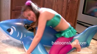 Preview 4 of Horny Pigtailed Slut Grinds Inflatable Whale to Orgasm