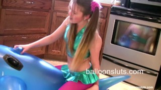 Preview 5 of Horny Pigtailed Slut Grinds Inflatable Whale to Orgasm