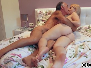 Preview 3 of Nympho sucks grandpa cock and has sex with him in her bedroom