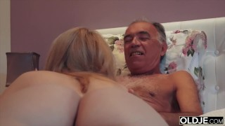 Preview 4 of Nympho sucks grandpa cock and has sex with him in her bedroom