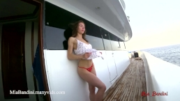 Passionate real fuck on boat with horny amateur couple. Mia Bandini