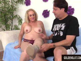 Preview 3 of Lustful Older Lady Summer Blows a Dude and Makes Him Fuck Her