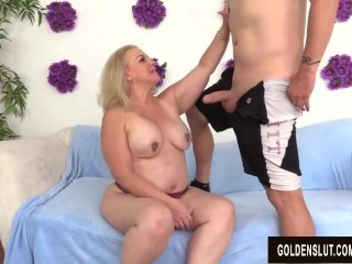 Preview 4 of Lustful Older Lady Summer Blows a Dude and Makes Him Fuck Her