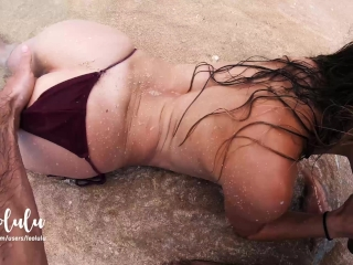 Preview 4 of Sex on the Beach! Wild Fucking on an Island - Amateur Couple LeoLulu