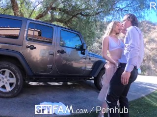 Preview 5 of SPYFAM Step sister CREAMPIED for damaging car