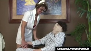 Preview 3 of Busty Mature Nurse Deauxma Gives Patient Sloppy Hot Handjob!