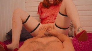 Preview 4 of Real Big Boobs Redhead in High Heels and Fishnet Cowgirl Fuck Till Creampie