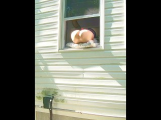 Preview 1 of HORNY dildo orgasm squirting out of window while neighbors are outside!